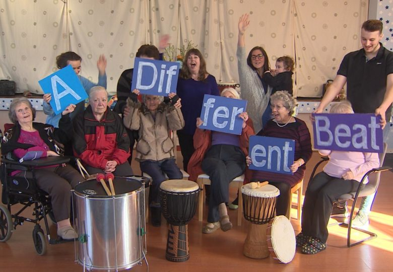 Participants of Rhythm For Dementia – drumming together in Herefordshire